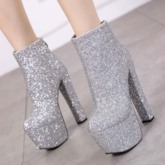 Chunky Heel Round Toe Back Zip Glitter Ankle Boots