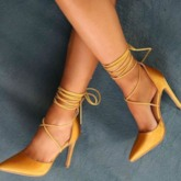 Lace-Up Stiletto Heel Pointed Toe Customized Pumps