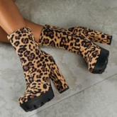 Leopard Side Zipper Chunky Heel Round Toe Suede Ankle Boots