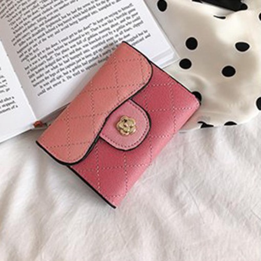 Mini 3 Folds Women PU Wallets