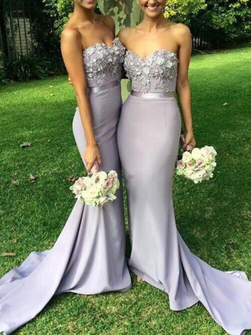 3D Floral Appliques Mermaid Bridesmaid Dress
