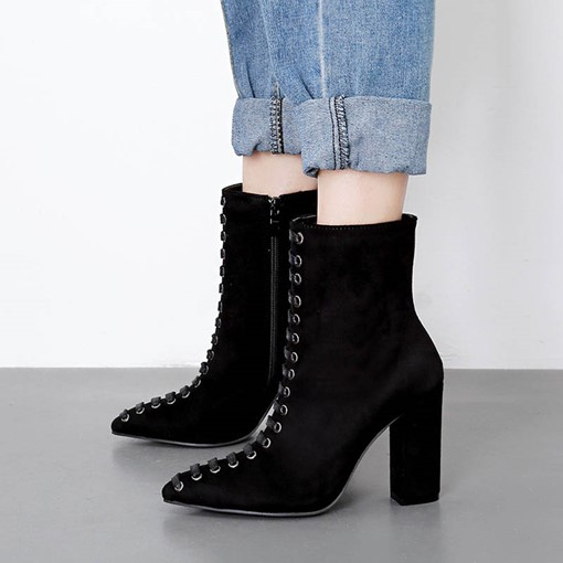 Cross Strap Chunky Heel Pointed Toe Zipper Ankle Boots
