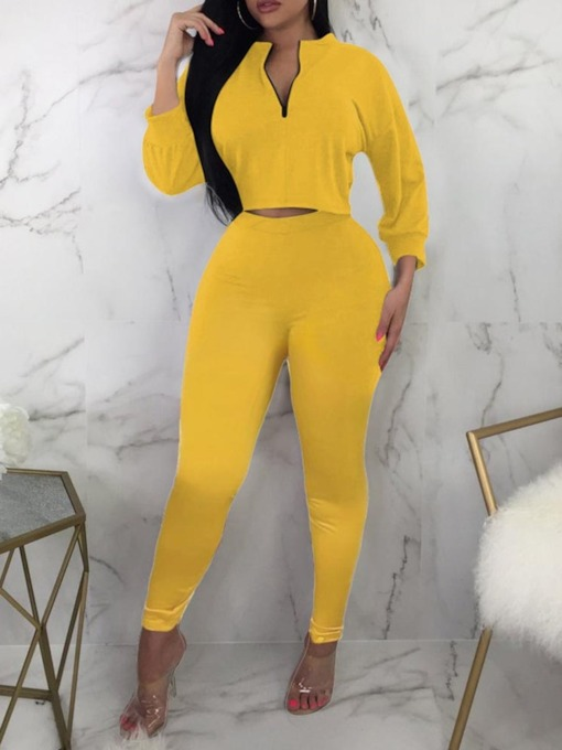 Plain Pants Pullover Women's Two Piece Sets