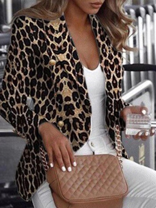 Long Sleeve Leopard Regular Women's Casual Blazer