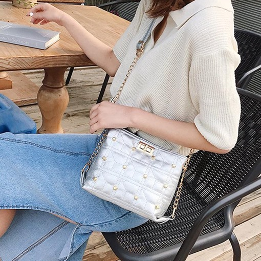 Chain PU Plaid Rectangle Women's Crossbody Bags