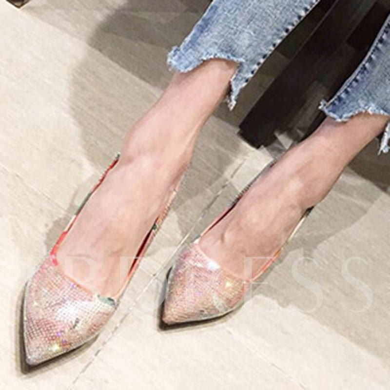 Rhinestone Slip-On Pointed Toe Stiletto Heel Pumps