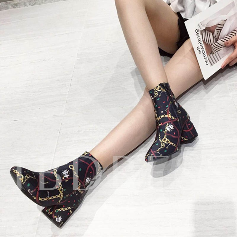 Side Zipper Round Toe Chunky Heel Color Block Ankle Boots