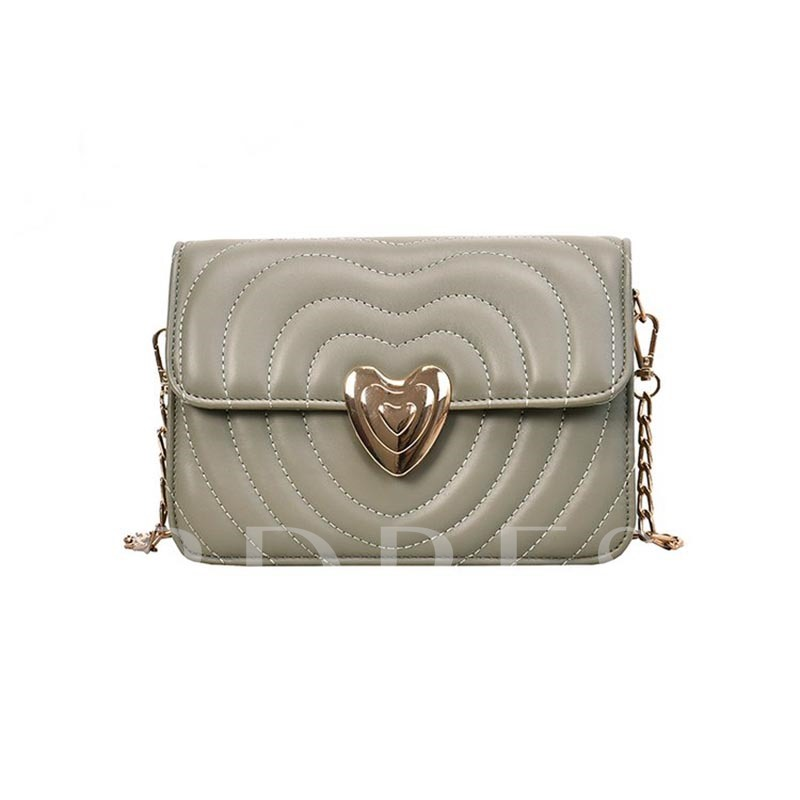 Heart Shaped PU Thread Rectangle Women's Crossbody Bags