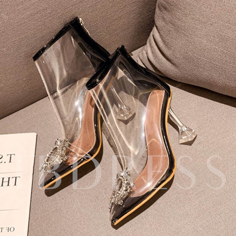 Pointed Toe Back Zip PU See Through Ankle Boots