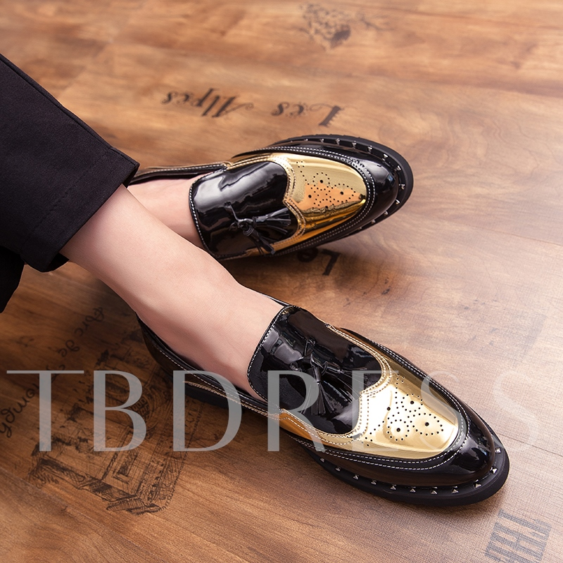 Engraved Flower Pointed Toe Men's Prom Shoes