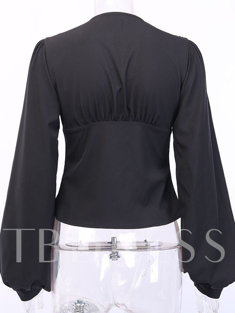 Sexy Lantern Sleeve Plain V-Neck Long Sleeve Women's Blouse