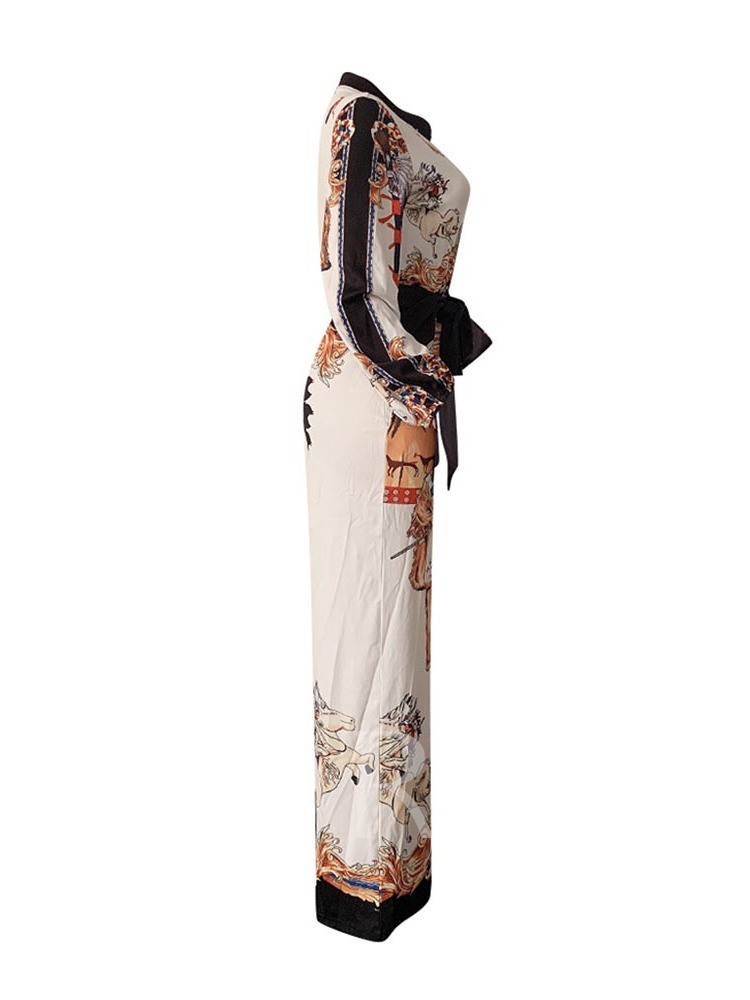 Full Length African Fashion Dashiki Cartoon Lace-Up Loose Women's Jumpsuit