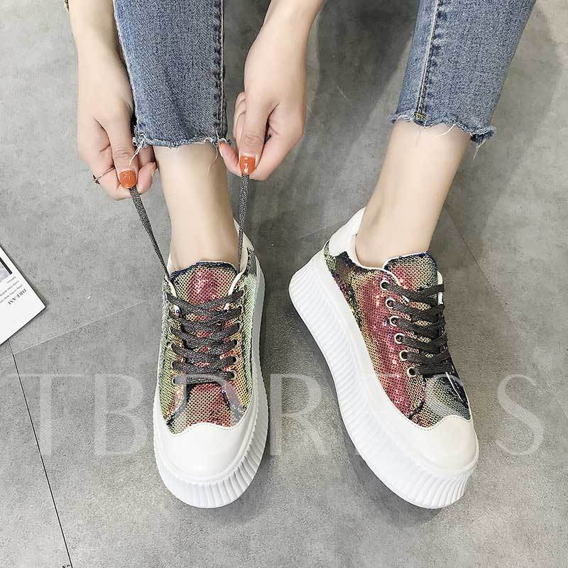 Sequin Lace-Up Low-Cut Upper Round Toe Sneakers