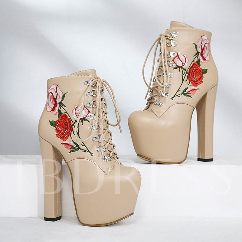Side Zipper Round Toe Chunky Heel Embroidery Ankle Boots