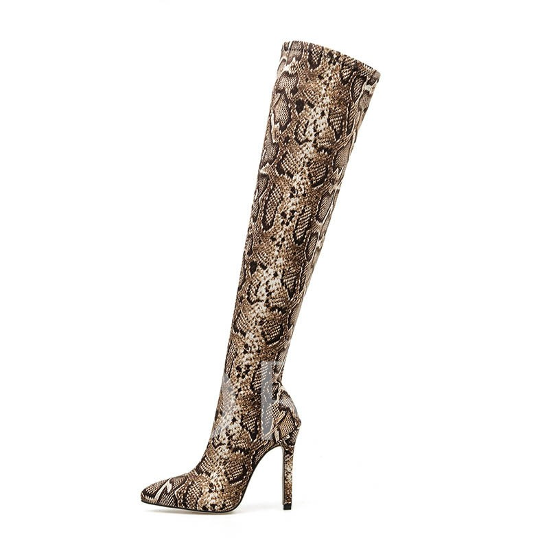 Serpentine Stiletto Heel Slip-On Pointed Toe Thigh High Boots