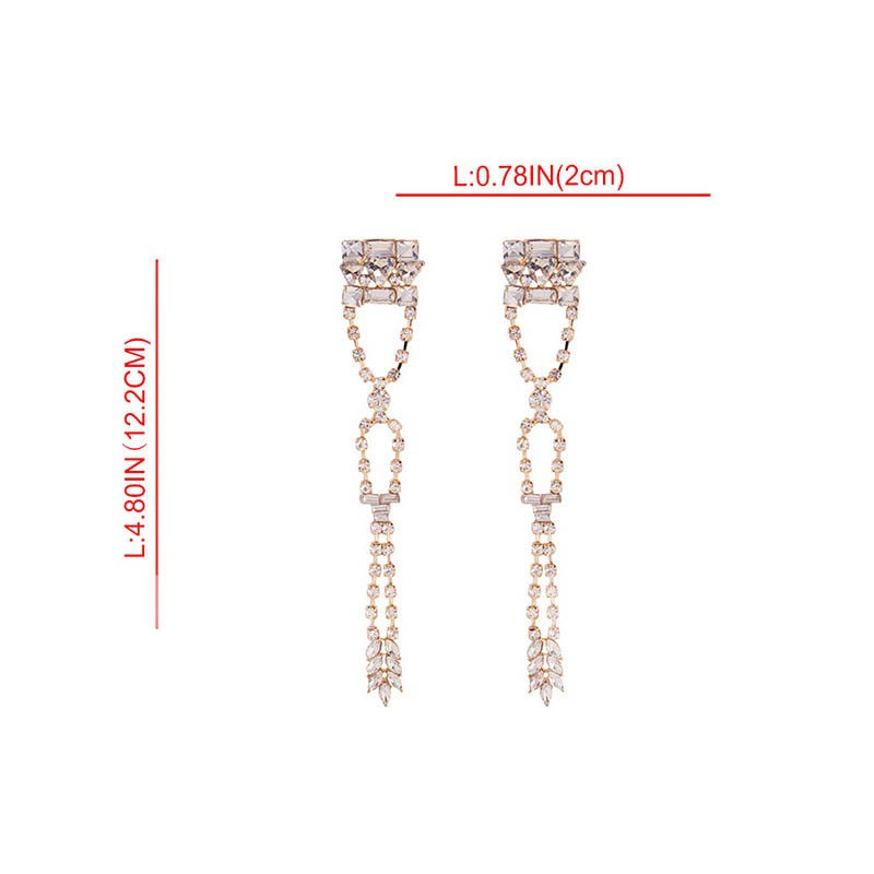 Rhinestone Diamante Plain Prom Earrings