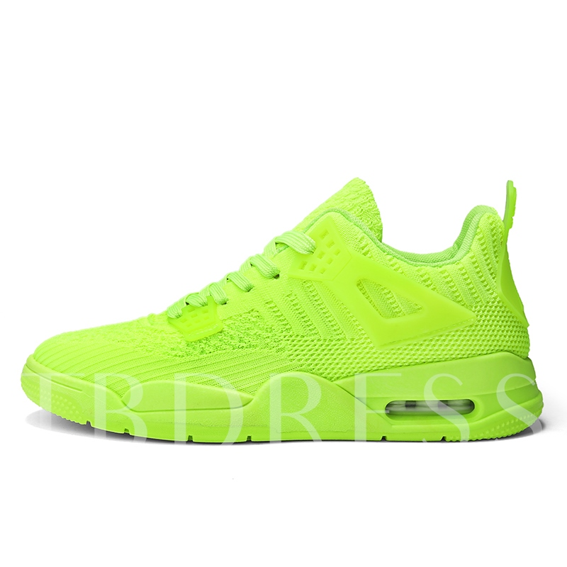Neon Lace-Up Sports Round Toe Men's Running Shoes