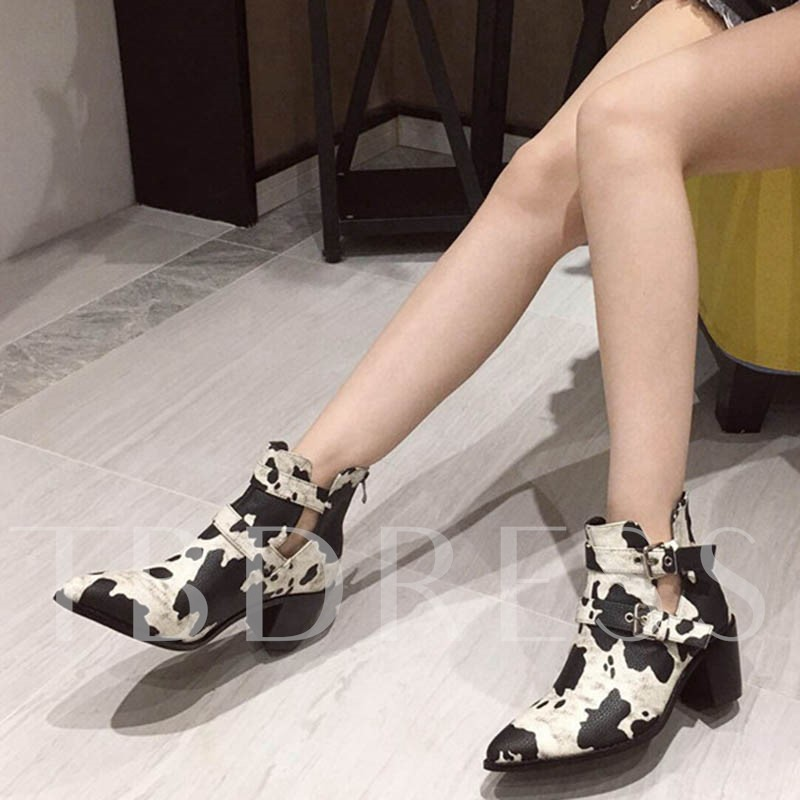 Chunky Heel Back Zip Animal Print Pointed Toe Ankle Boots