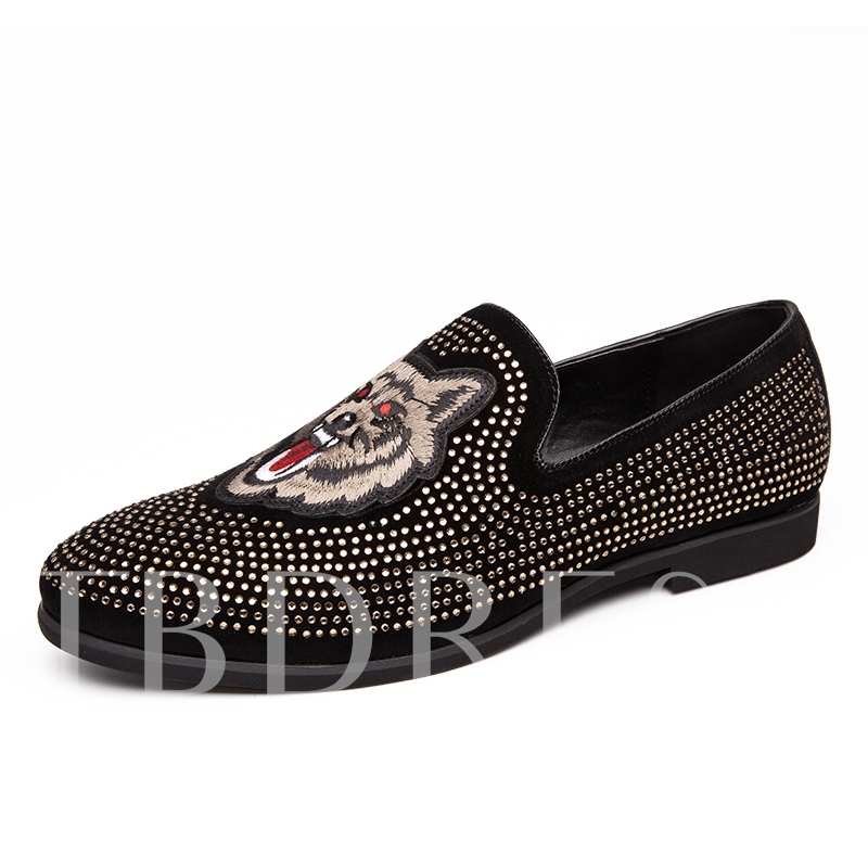 Animal Printing Leather Pointed Toe Men's Loafers