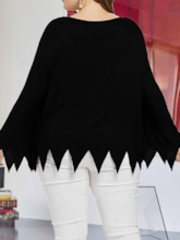 Halloween Costume Plus Size Long Sleeve Round Neck Mid-Length Loose Women's T-Shirt