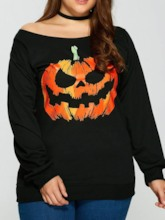 Halloween Costume Plus Size Off Shoulder Mid-Length Long Sleeve Loose Women's T-Shirt