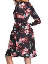 Print Above Knee Round Neck Pullover Women's Long Sleeve Dress
