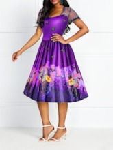 Halloween Costume Short Sleeve See-Through Mid-Calf Pullover Women's Party Dress
