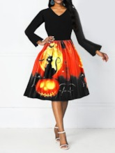 Halloween Costume V-Neck Print Nine Points Sleeve Mid-Calf Expansion Women's Party Dress