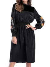 Embroidery Stand Collar Knee-Length A-Line Women's Long Sleeve Dress