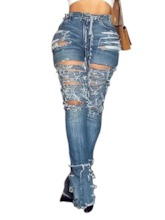 Wide Legs Hole Slim Women's Jeans
