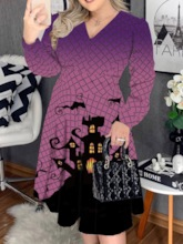 Plus Size Halloween Costume Mid-Calf Long Sleeve V-Neck Print Pullover Women's Dress