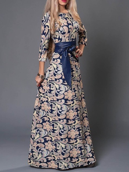 Three-Quarter Sleeve Round Neck Print Women's Maxi Dress