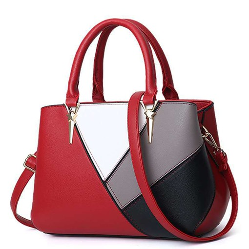 Color Block PU Rectangle Women's Tote Bags