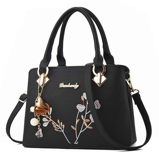 Floral Embroidery PU Rectangle Tote Bags