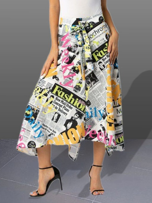 Asymmetrical Letter Print Mid-Calf Women's Skirt