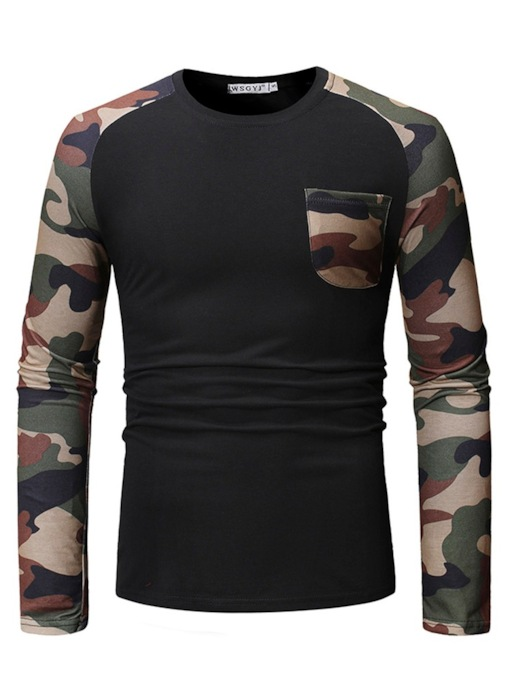 Casual Round Neck Print Camouflage Men's Shirt