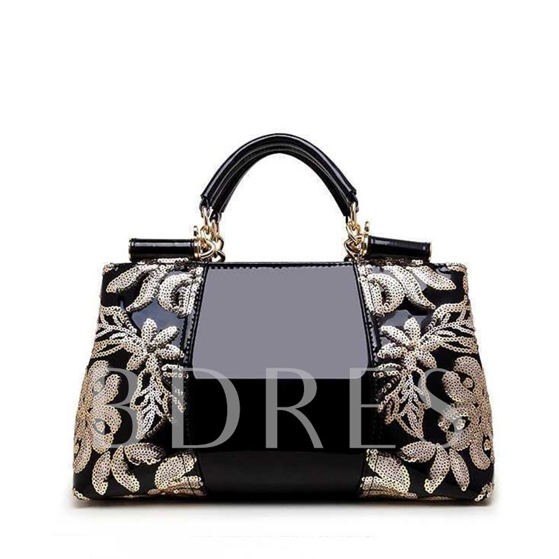 Thread Floral PU Rectangle Women's Tote Bags