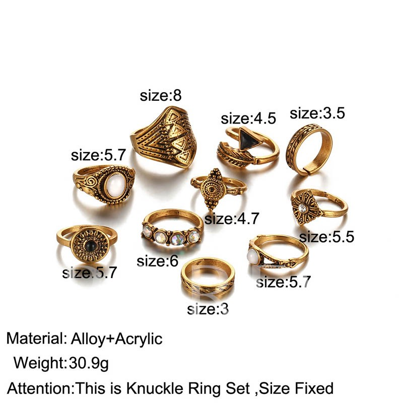 Diamante Alloy Vintage Rings