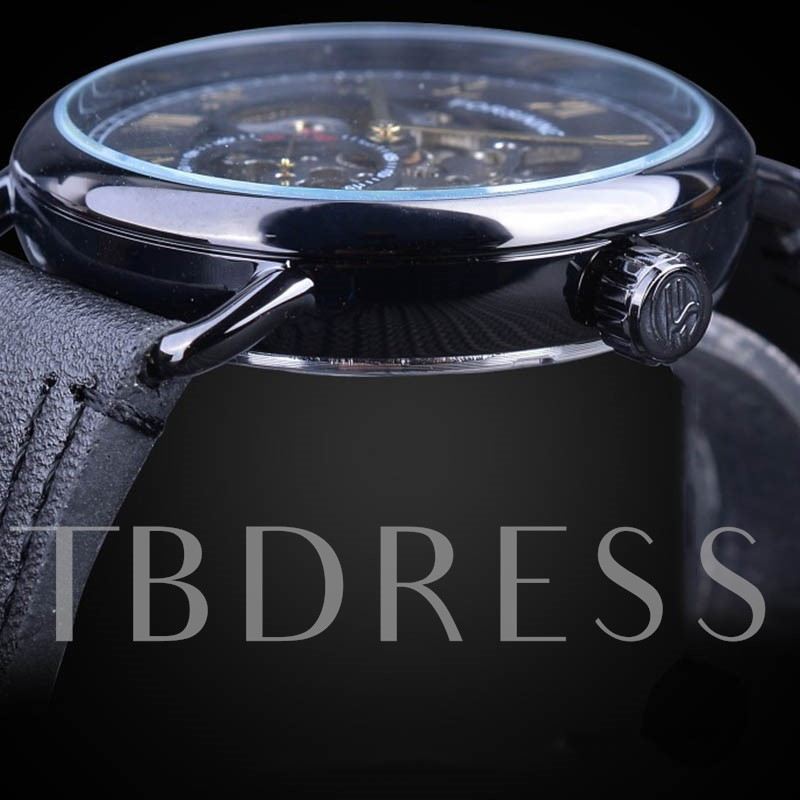 Plastic Mechanical Hand Wind Round Men's Watches