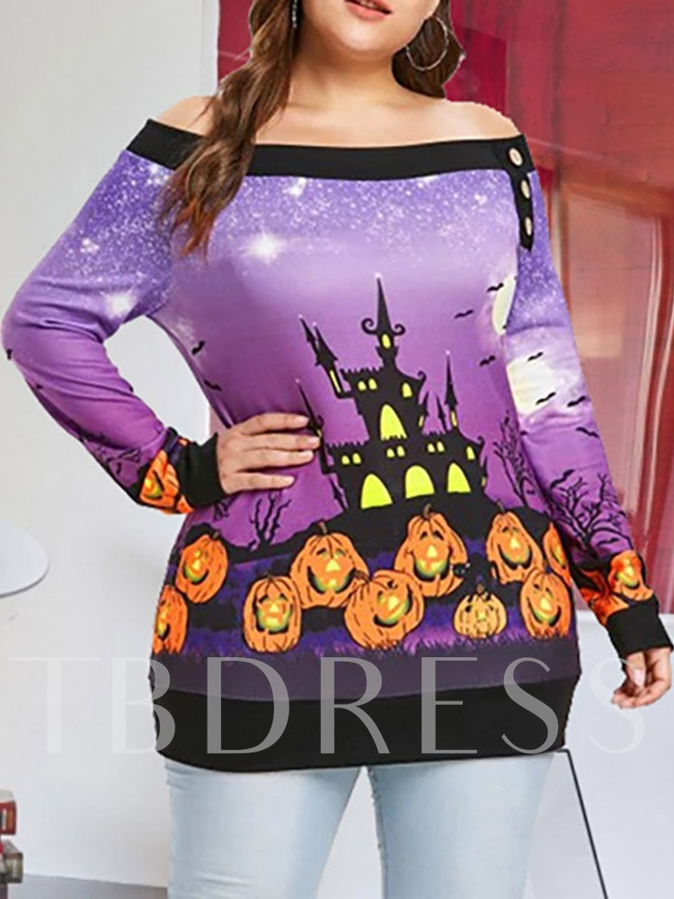 Halloween Costume Plus Size Mid-Length Long Sleeve Off Shoulder Slim Women's T-Shirt