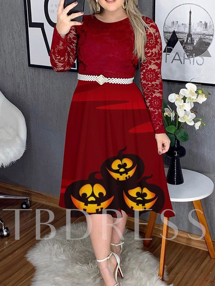 Plus Size Halloween Costume Long Sleeve Round Neck Lace Pullover Women's Dress