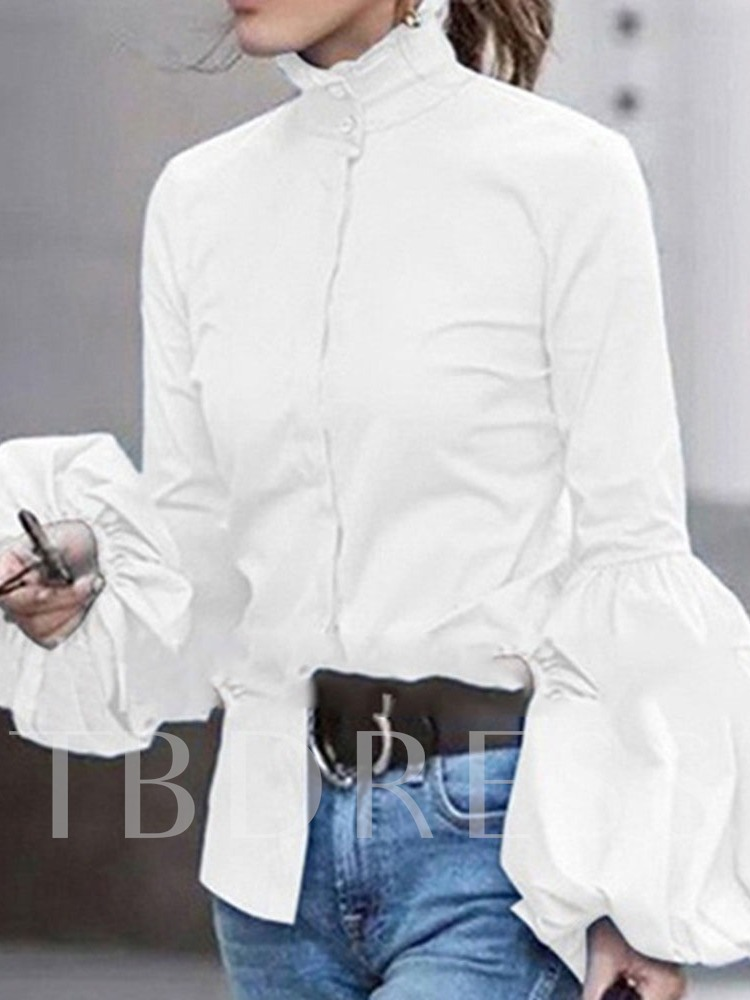 Lantern Sleeve Stand Collar Plain Button Long Sleeve Women's Blouse