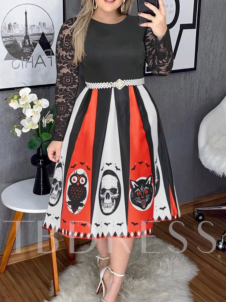 Plus Size Halloween Costume Long Sleeve Mid-Calf Patchwork Round Neck Women's Dress