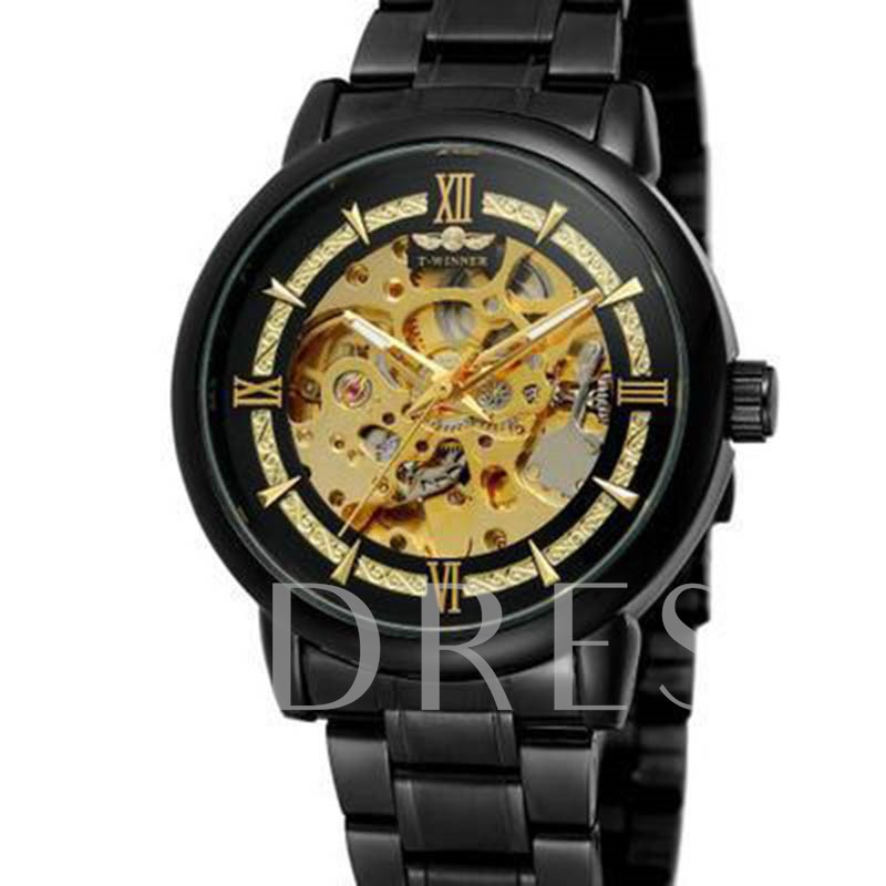Glass Round Mechanical Hand Wind Men's Watches