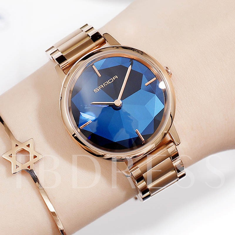 Waterproof Quartz Round Women's Watches