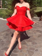 A-Line Knee-Length Off-The-Shoulder Red Homecoming Dress 2019