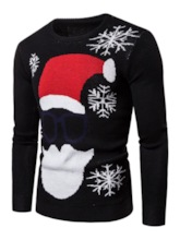 Ugly Christmas Sweaters 2019 Printed Round Neck Color Block Slim Men's Sweater