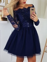 Off-The-Shoulder Appliques Long Sleeves Homecoming Dress