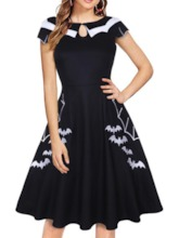 Peter Pan Collar Embroidery Short Sleeve Pullover Women's Day Dress