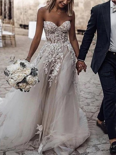 Sweetheart Appliques Strapless Tulle Country Wedding Dress Sweetheart Appliques Strapless Tulle Country Wedding Dress
